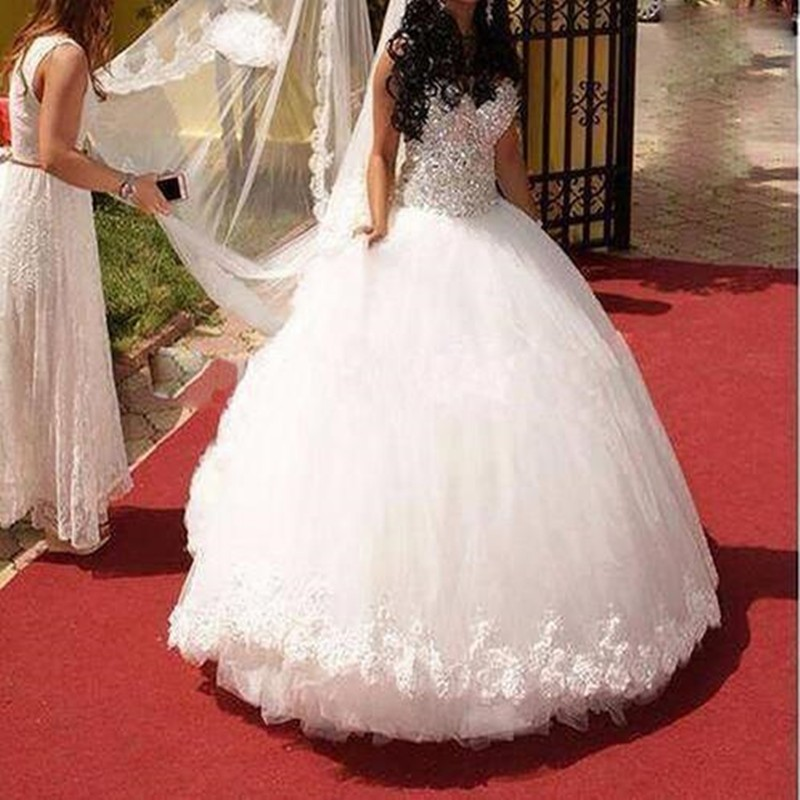 Sparkly Ball Gown Wedding Dresses: Ball Gown Sparkly Wedding Dress Diamonds Crystal Top Lace