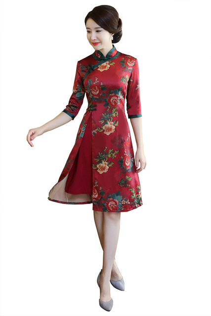 a125bfd563c Shanghai Story Chinese Style Dress Vietnam aodai Chinese traditional dress  3 4 Sleeve cheongsam dress Knee Length Qipao Dress