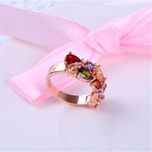 HIP Hop Fashion color crystal ring Crystal zircon 8 colors For Women Jewelry Dropshiping Couple gift