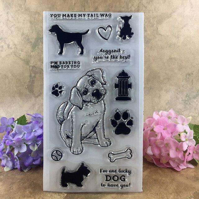 Щенок Сделать Мой Высокий Вилять Lucky Dog Записки DIY фото карт счет штамп ясно штамп прозрачный штамп 20*11 см
