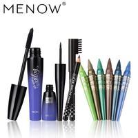 Menow Wasserdichte Wimperntusche Flüssigkeit Eyeliner Augenbrauenstift + 6 Farbe Lidschatten Stift set kit pinceis maquiagem esponja