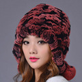 Women Rex Rabbit Fur Hat With Fur Ball Real Fur Winter Hats Hand Sewing Strips Gradient Color Elastic Lady Beanies Cap