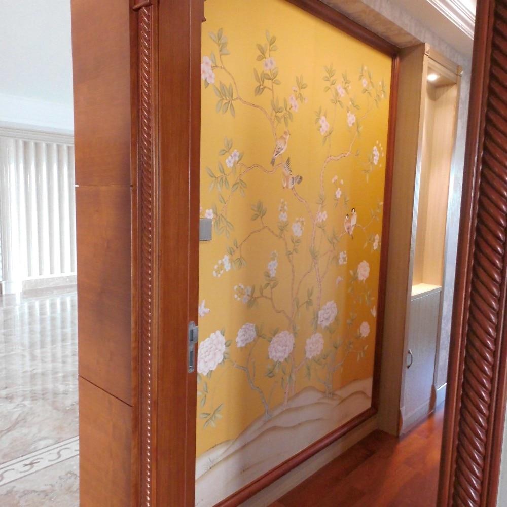 Ручная роспись шелковые обои цветы с птицами ручная роспись обои много фотографий/цветов/backgounds опционально