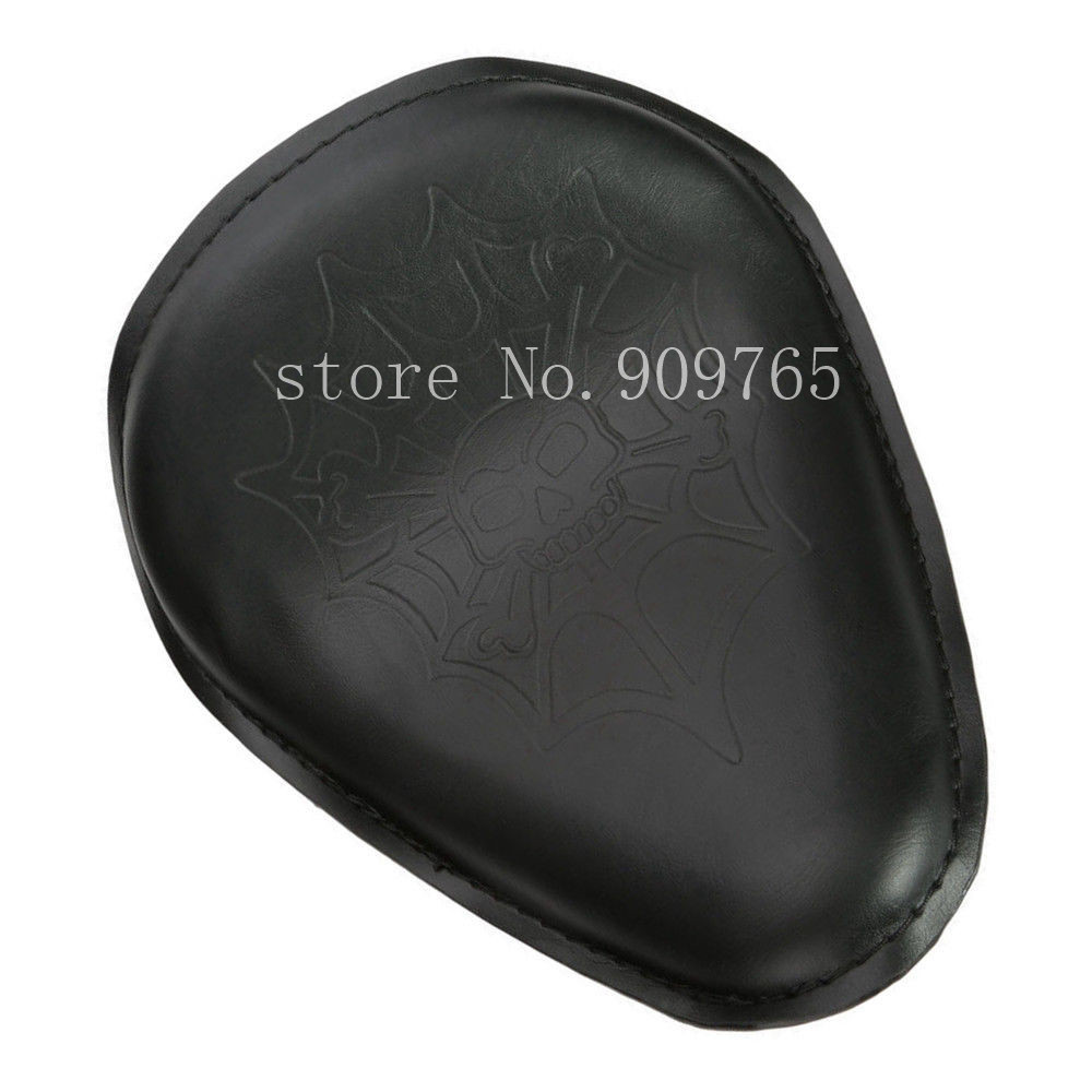 Black Skull Leather Solo Seat For Harley Honda Kawasaki Suzuki Yamaha Cruiser Chopper Bobber Touring Custom CB 22 bobber cafe oldschool chopper