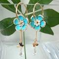 Navachi limpar zircon flor azul esmalte amarelo banhado a ouro de cristal rhinestone dangle brincos de argola frete grátis smt2900