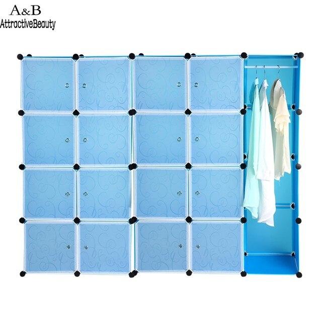 20 Кубики Складной Сочетание Шкаф Портативный ПП Материала Гардероб Для Хранения Организатор Шкаф Вешалка Синий