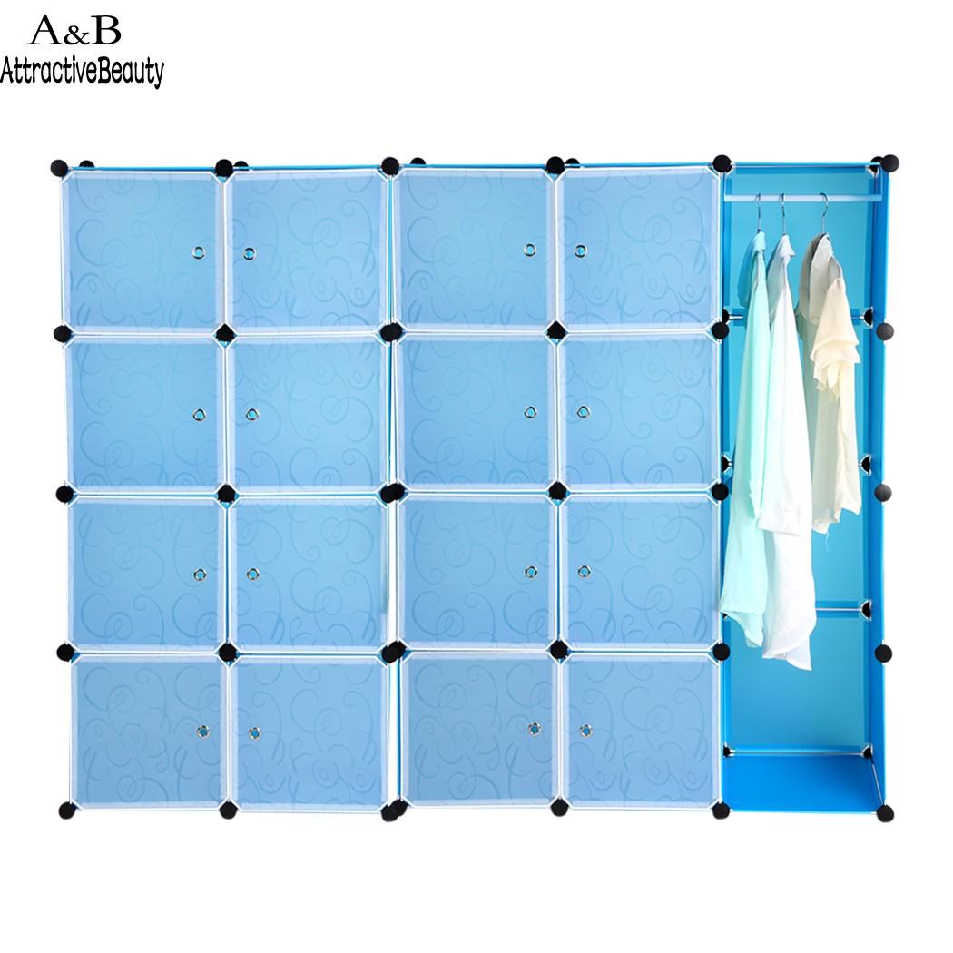 20 Cubes Folding Combination Wardrobe Portable PP Material Closet Storage Organizer Wardrobe Clothes Rack Blue