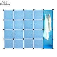 20 Küpleri Katlama Kombinasyonu Gardırop Taşınabilir PP Malzeme Closet Depolama Organizer Dolap Elbise Raf Mavi N30 *