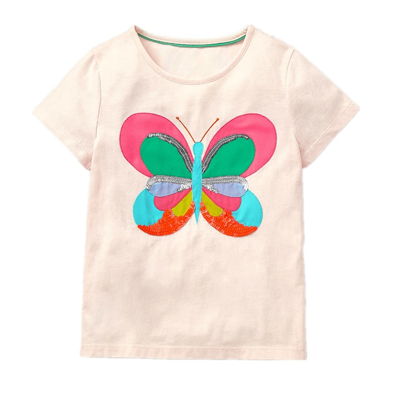 Little Maven New Summer Kids Clothing Short O-neck Colorful Butterfly Tee Knitted Cotton Girls Casual Quality Tshirt