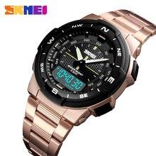 SKMEI reloj deportivo para hombre, cronógrafo dual, reloj de pulsera deportivo, alarma, pulsera