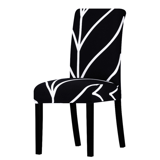 Black And White Line Chair Cover Slipcovers Stretch Removable Dining