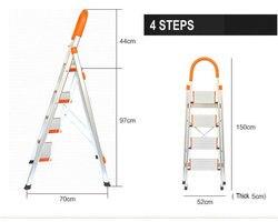 Новые лестницы с фиксированными рельсами, резиновые ступни и широкие педали, 4-ступенчатые алюминиевые ступенчатые лестницы, складные ступ...