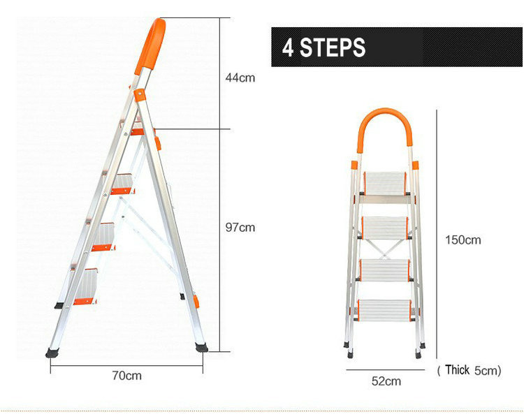NEW Ladder With Rails Fixed, Rubber Feet And Wide Pedals 4 Steps Aluminum Step Ladder, Folding Step Ladders, Aluminium Ladders