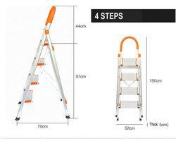 Nueva escalera con rieles fijos, pies de goma y pedales anchos escalera escalonada de aluminio de 4 pasos, escaleras escalonadas plegables, escaleras de aluminio