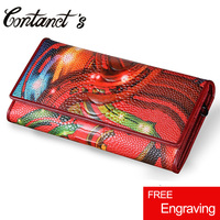 Fashion Women Wallets Luxury Brand Genuine Leather Flower Printed Ostrich Red Woman Purse Long Wallet Vintage