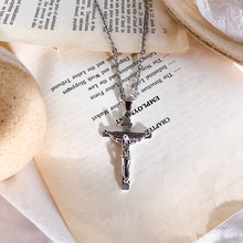 European and American sweater chain simple necklace Christian Jesus cross short couple silver