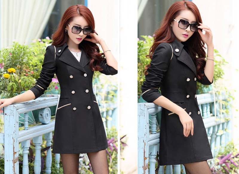 FIONTO Spring Autumn Trench Coat 19 Turn Down Collar Casual Trench Coat Women Solid Long Slim Double Breasted Coats A034-1 7