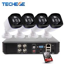 Techege 4ch cctv система 2.0mp 4 канала эн-h 1080 P dvr 2.0 MP ИК Открытый Ночного Видения AHD Камеры комплект Видеонаблюдения система
