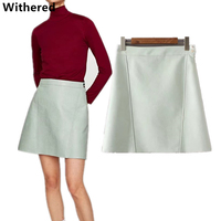 Withered 2017 Women Skirt European Style Preppy Black And Green High Waist AA Wind PU Mini