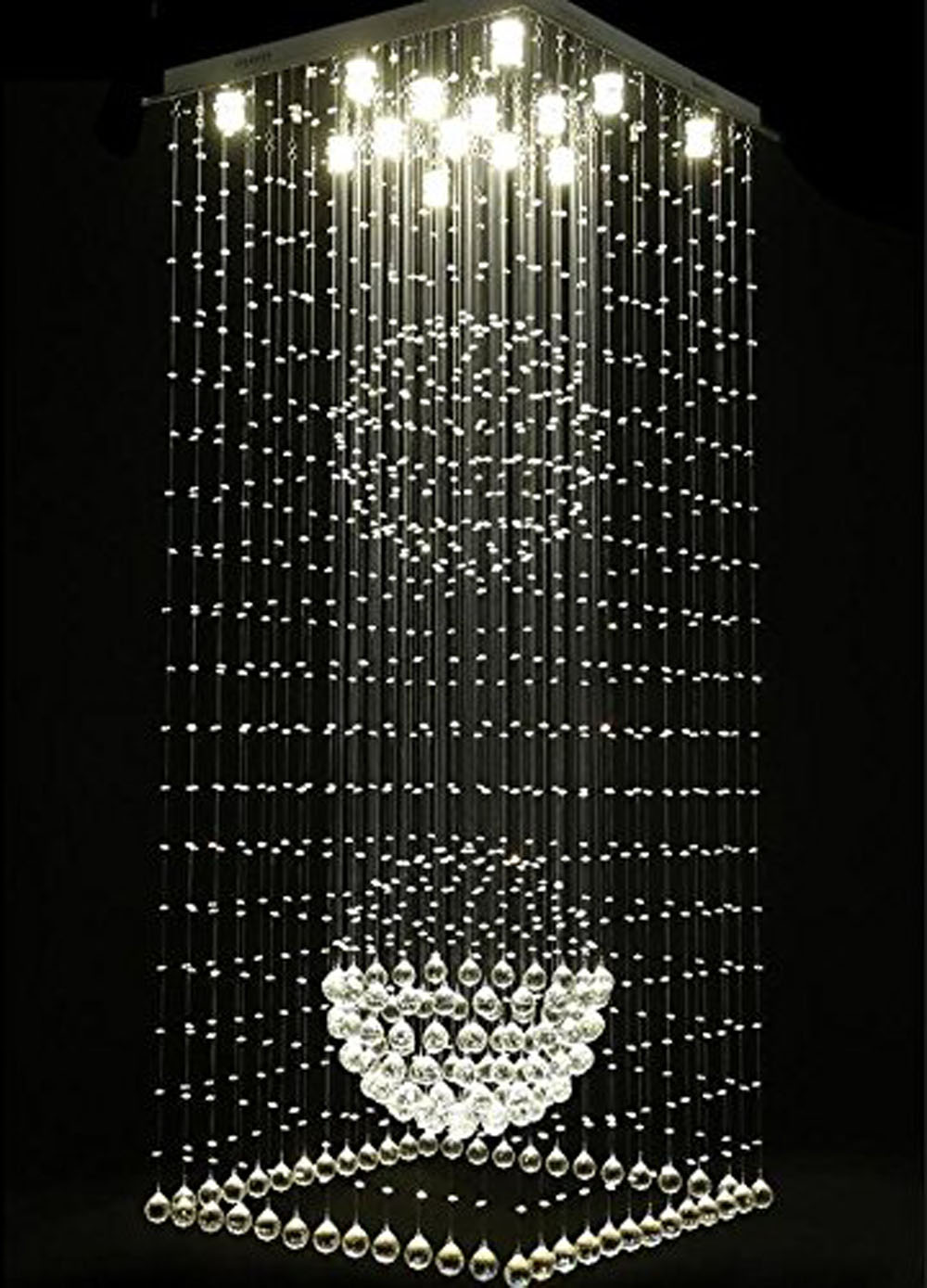 Luxury hotel lobby crystal lamp double staircase chandelier LED hanging line lamps K9 Crystal Chandelier GU10 LED Light