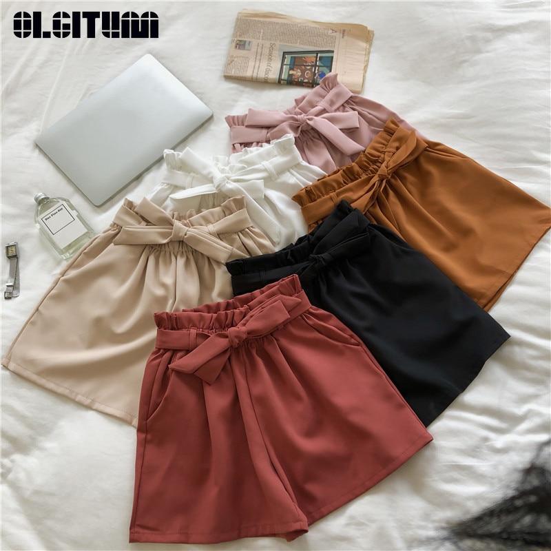 New Summer Shorts Women With Pocket Solid High Waist Casual Summer Sweet Bow Elastics Waist Shorts Wide Leg Shorts Feminino