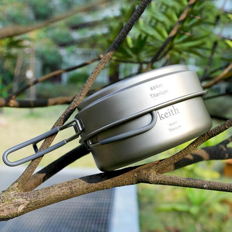 Keith Camping Cookware Titanium Pots Set Camping Traving Hunting Hiking Picnic Cooking Utensils Lightweight Ti6016 w/ Mesh Bag