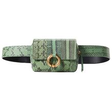2019 New Women Snake PU Leather Green Waist bag Fanny Pack Female Luxury Ladies Bag With Belt For girl Fashion Strap phone bags