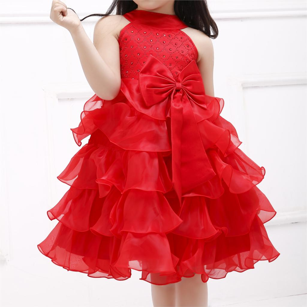 2017 New Baby Girl Princess Flower Formal Dress Summer Red Fashion And Cute Kids Clothes Party Clothing For Girls SKF154022 girls short in front long in back purple flower girl dress summer 2017 girl formal dress kids party princess custume skd014283