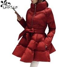 UHYTGF Новое поступление, пуховик, теплое пальто, куртка, парки для женщин, зимняя женская пуховая парка с бантом на талии, пышная юбка, стильное пальто 979