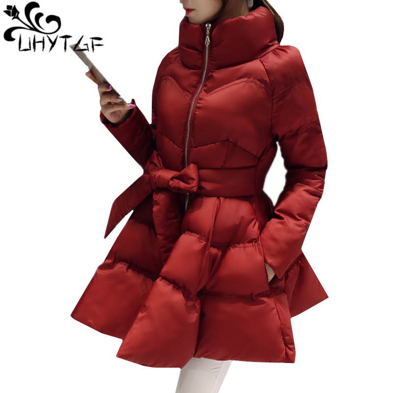 UHYTGF New Arrival Down Jacket Warm Coat Jacket   Parkas   For Women Winter Women Down   Parka   Bow Waist Fluffy Skirt Style Coat 979