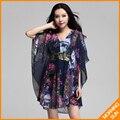 2017 летние женщины новый позолотой блестки шить свободно большие ярдов шифона dress V-образным Вырезом #0429