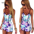 Fashion Design Summer Style Women Jumpsuit Sexy Shorts Bodysuit Lady Floral Printed Overalls Deep V-Neck Playsuit