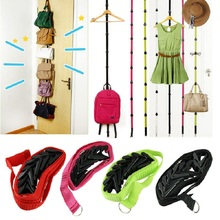 DIVV Straps Hanger Adjustable Over Door Hat Bag Clothes Rack Holder  Organizer 8 Hooks Drop Shipping Happy Sale Ap704