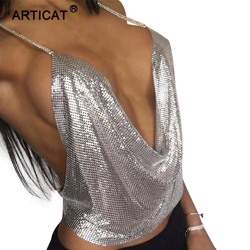 c2b7cd691cf4c SIBYBO Sexy Metal Crop Tops 2017 New Gold Silver Bralette Top Camis Summer  Spring Beach Wear