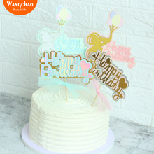 Baby Shower Girl Party Decorations Cake Toppers Birthday Cakes Elephant Love Heart Happy Topper Cupcake