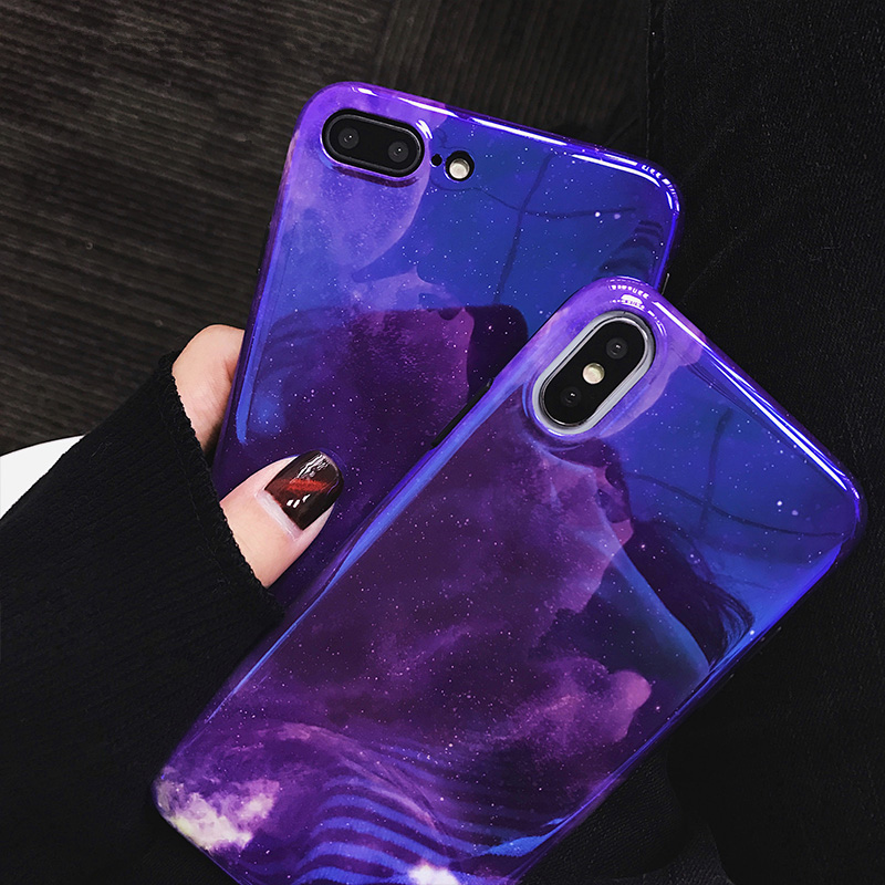 Blue ray Starry sky case For iphone X 7 7Plus 8 8plus Shiny Soft silicon mirror case for iphone 6 6s 6plus back cover