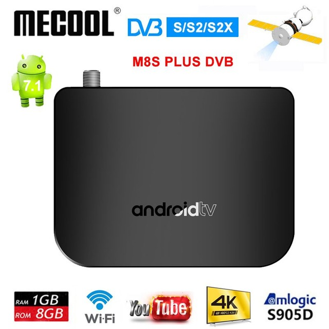 M8S Plus DVB DVB-S2 Android 7.1 TV Box Amlogic S905D 1G ROM 8G RAM 2.4G WiFi 100M Support 4K H.265 DVB S2 Mini Thin Media Player
