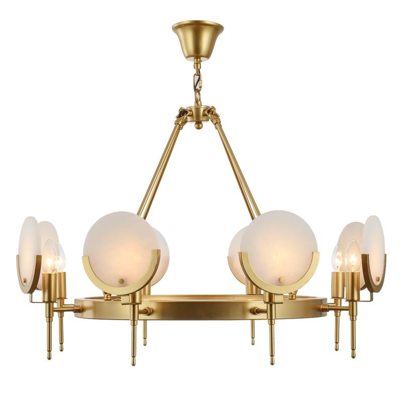 American All copper chandelier milk white marble hanglamp art dining room bedroom foyer glass shade lighting droplight fixture