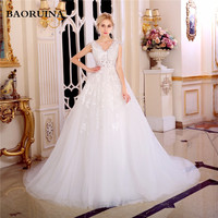 New Fashionable Crystal Elegant Long A Line Wedding Dress 2017 Backless Beading Appliques Vintage Bride Dresses