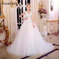New Fashionable Crystal Elegant Long A Line Wedding Dress 2017 Backless Beading Appliques Vintage Bride Dresses