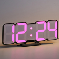 Colorful Digital Electronic Desktop Clock LED Clock 12/24 Hours Display Alarm Clock and Snooze 8888 Display Blue Green Red White