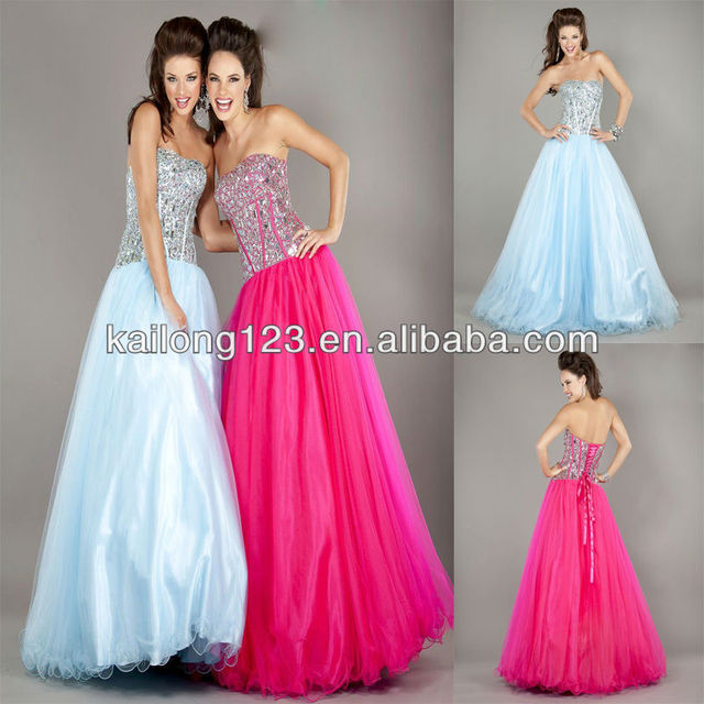 5c233d9c0b56 Dreamy Strapless Beaded Corset Bodice Ruffled Floor-length Lace Up Back  Fuchsia Light Blue Tulle Ball Gown Prom Dresses