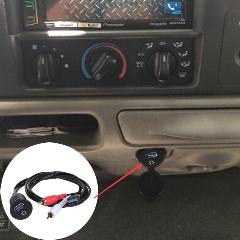 1 mt/3 Füße USB 3.0 & 2 RCA Männlich zu USB3.0 & 3,5mm Weibliche Dashboard Panel Aux Verlängerung flush Mount Kabel für Auto Und Motorrad