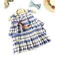 Nuevo vestido de las muchachas del algodón infantiles torta vestido de verano sin mangas vestidos para niña de rayas un line ropa de los cabritos 2017 ropa de los niños