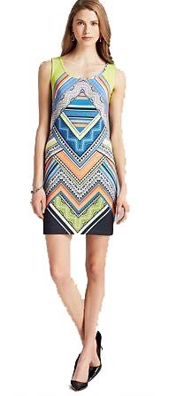 Xxl Delle Maniche Dress Stampa Plus Charming Senza Geometrica Seta Donne Elasticizzato Colorful Jersey Size Europea Runway Designer 0twqUU6