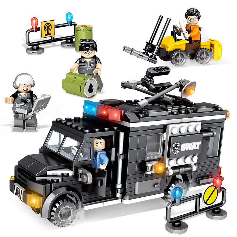 City police Trucks Military Trunk Satellite Communication Equipment Vehicle Building Blocks Toys For Kids Compatible LegoINGlys