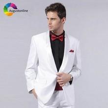 цены White Men Suits Slim Fit Wedding Groom Wear Tuxedos Shawl Lapel 2 Pieces (Jacket+Pants) Bridegroom Suits Best Man Blazer