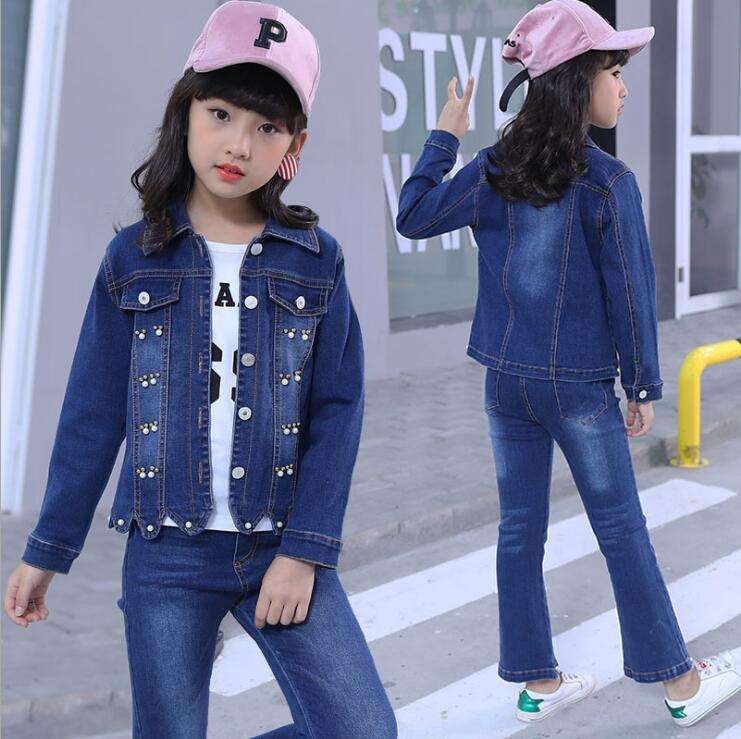 Fashion Clothing Kids Cowboy Suit Children Girls Sports Denim Baseball Clothes Unisex Letter Denim Jacket + T-shirt+Pants set