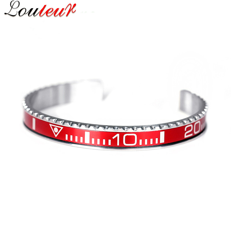 Louleur 18 Italian Style New 316L Stainless Steel Cuff Bracelet Bangle Men Women Speedometer Bracelet Open Bangles Jewelry 12