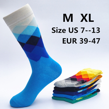 1 pair color combed cotton men's casual with print knitting funny cartoon crew socks
